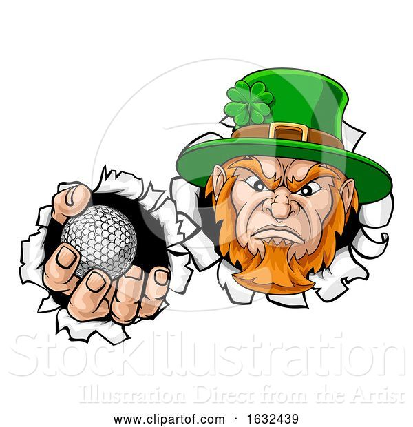 Vector Illustration of Leprechaun Golf Mascot Ripping Background