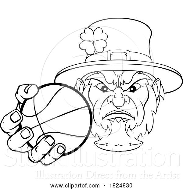 Vector Illustration of Leprechaun Holding Basketball Ball Sports Mascot