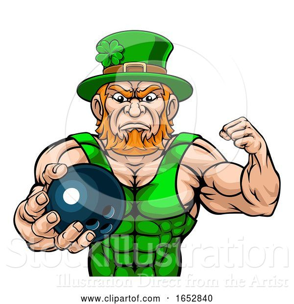 Vector Illustration of Leprechaun Holding Bowling Ball Sports Mascot