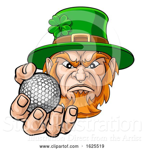 Vector Illustration of Leprechaun Holding Golf Ball Sports Mascot