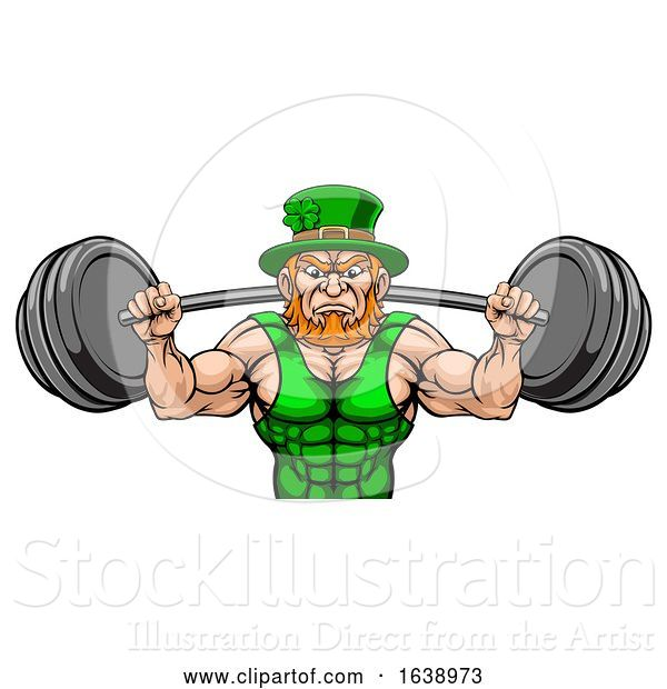 Vector Illustration of Leprechaun Mascot Weightlifter Lifting Big Barbell