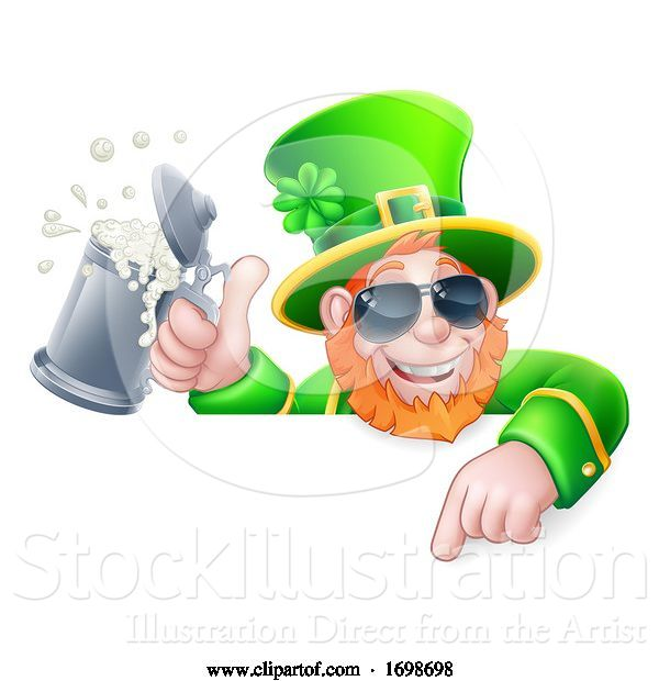 Vector Illustration of Leprechaun St Patricks Day Cool Sign