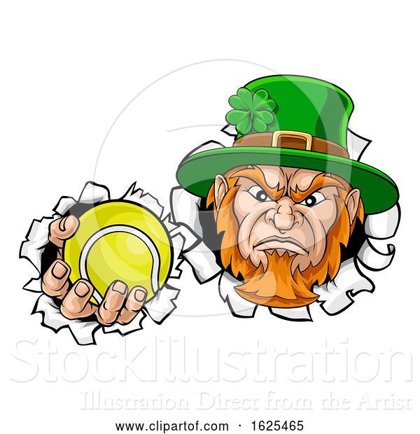 Vector Illustration of Leprechaun Tennis Mascot Ripping Background