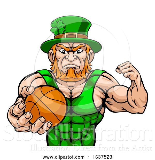 Vector Illustration of Leprechaun Tough St Patricks Day Character or Basketball Sports Mascot