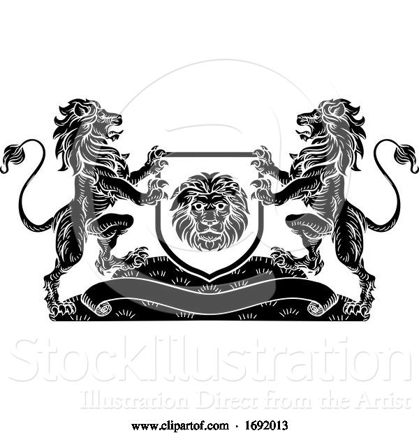 Vector Illustration of Lion Knight Crest Heraldic Shield Coat of Arms