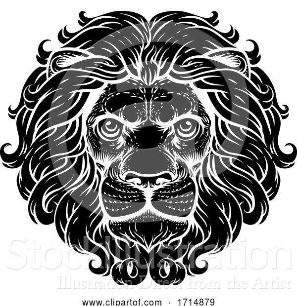 Vector Illustration of Lion Leo Fierce Lions Head Woodcut Animal Icon