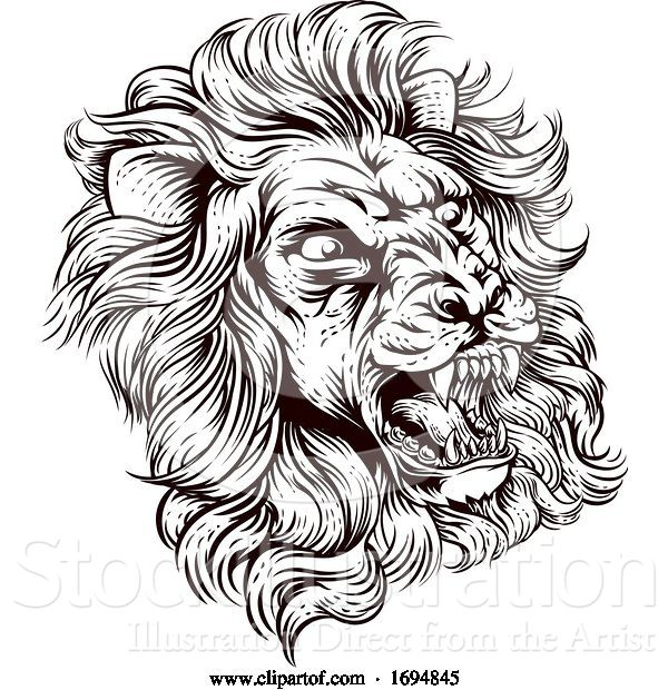 Vector Illustration of Lion Roaring Illustration