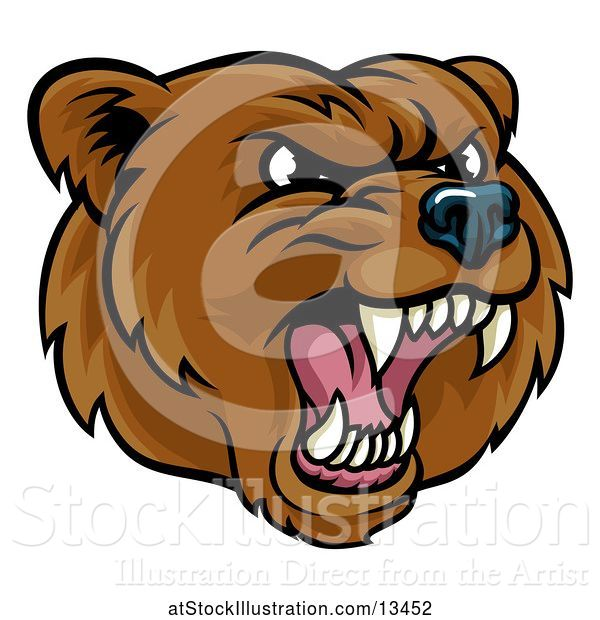 Vector Illustration of Mad Cartoon Grizzly Bear Mascot Head