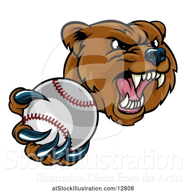 Vector Illustration of Mad Cartoon Grizzly Bear Mascot Holding out a Baseball in a Clawed Paw
