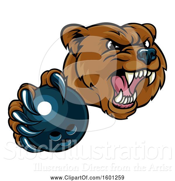 Vector Illustration of Mad Cartoon Grizzly Bear Mascot Holding out a Bowling Ball in a Clawed Paw