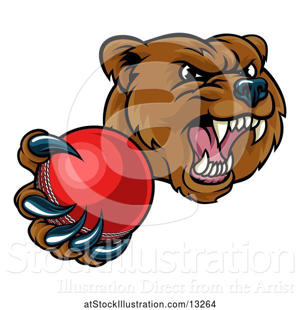 Vector Illustration of Mad Cartoon Grizzly Bear Mascot Holding out a Cricket Ball in a Clawed Paw
