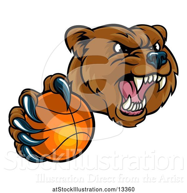 Vector Illustration of Mad Cartoon Grizzly Bear Mascot Holding out a Football in a Clawed Paw