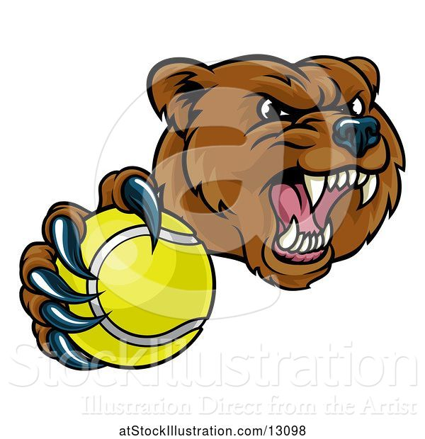 Vector Illustration of Mad Cartoon Grizzly Bear Mascot Holding out a Tennis Ball in a Clawed Paw