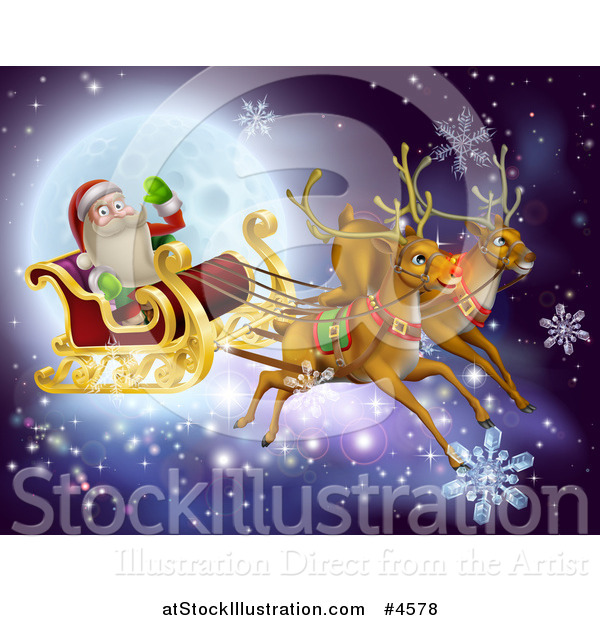 Vector Illustration of Magic Christmas Reindeer Flying Santa As He Waves over a Full Moon