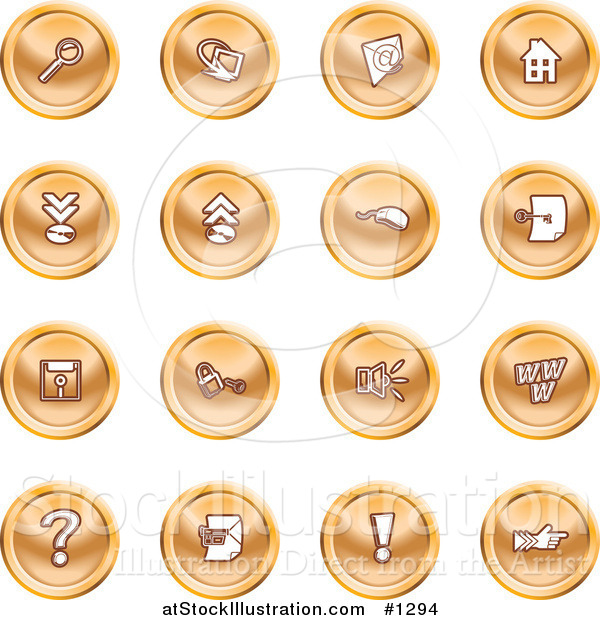 Vector Illustration of Magnifying Glass, Email, Home Page, Upload, Download, Mouse, Key, Disc, Padlock, Speaker, Www, Questionmark, and Exclamation Point
