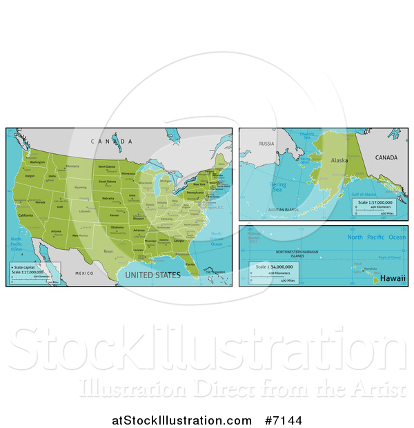 Vector Illustration of Maps of Continental, Hawaiian and Alaskan American Territories and Big Cities