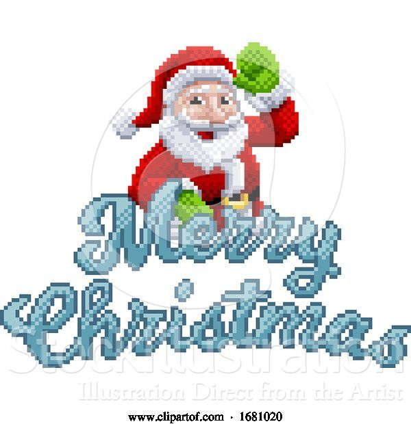 Vector Illustration of Marry Christmas Santa Claus 8 Bit Game Pixel Art