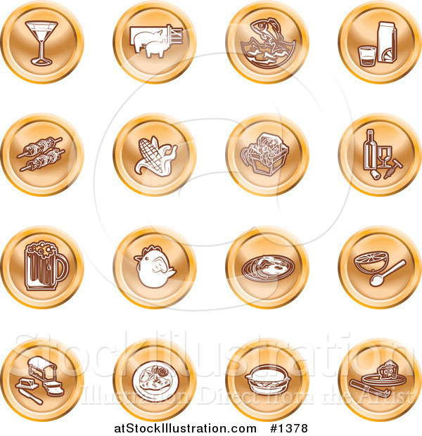 Vector Illustration of Martini, Pigs, Fish, Juice, Kebobs, Corn, Wine, Beer, Chicken, Breakfast, Fruit, Bread, Meal, Burger and Cheese