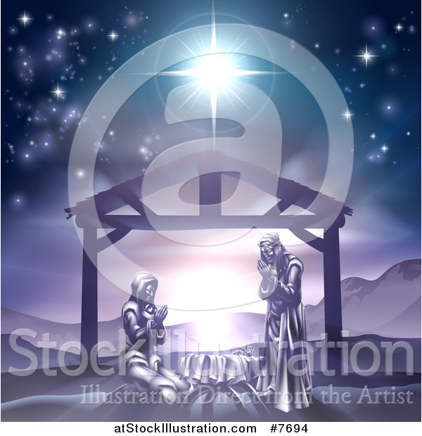 Vector Illustration of Mary and Joseph Praying over Baby Jesus Under the Star of Bethlehem in Purple Tones
