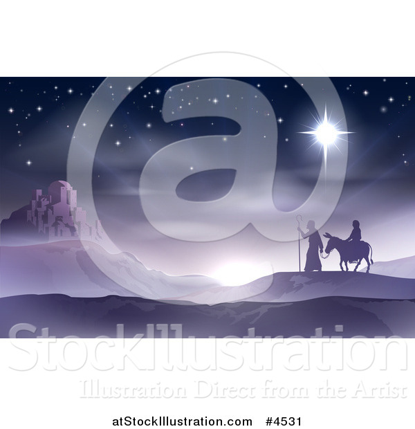Vector Illustration of Mary and Joseph Traveling the Desert on Christmas Eve with Bethlehem in the Distance