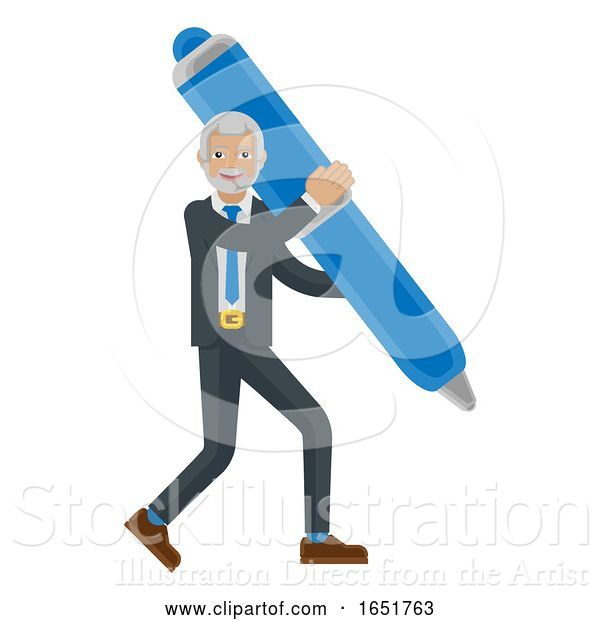 Vector Illustration of Mature Businessman Holding Pen Mascot Concept