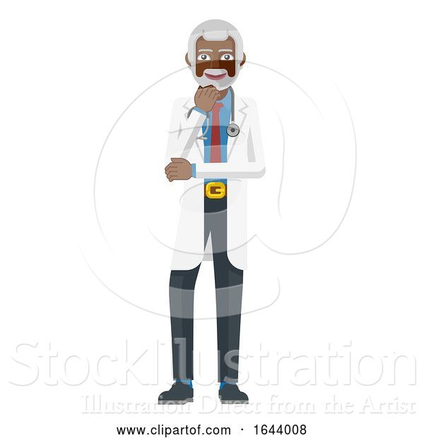 Vector Illustration of Mature Medical Doctor Mascot