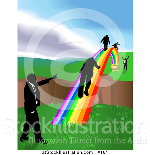 Vector Illustration of Men Walking on a Rainbow to Cross a Ravine