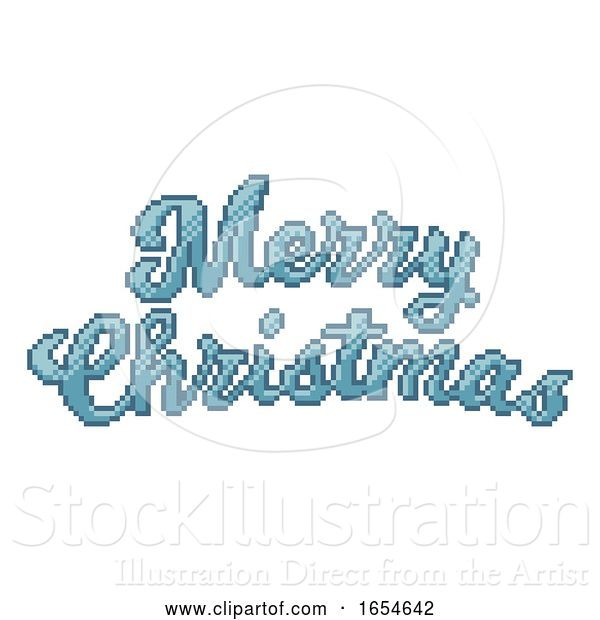 Vector Illustration of Merry Christmas 8 Bit Pixel Art Video Game Style