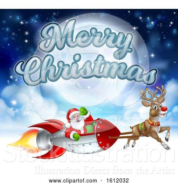 Vector Illustration of Merry Christmas Santa Claus Rocket Sleigh