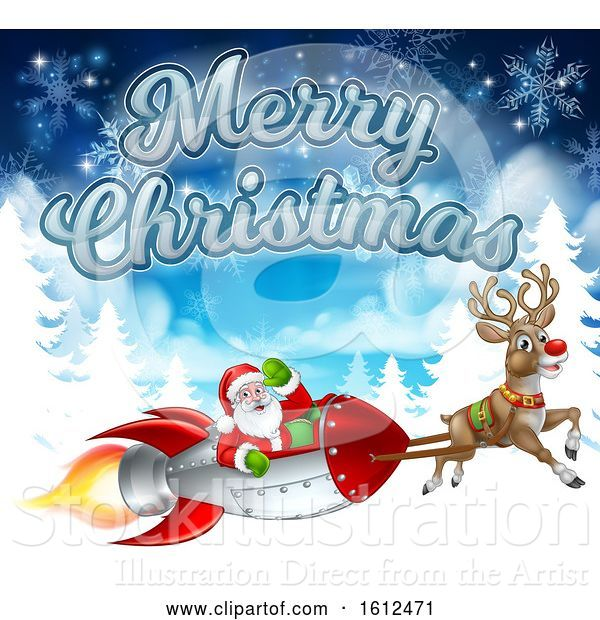 Vector Illustration of Merry Christmas Santa Rocket Sleigh Background