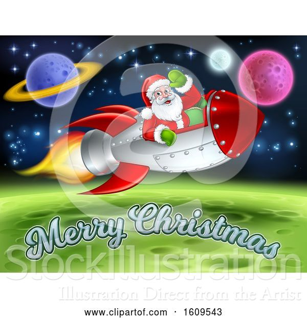 Vector Illustration of Merry Christmas Under a Reindeer Flying with Santa in a Rocket over in Outer Space