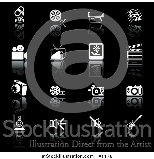 Vector Illustration of Microphone, Film Reel, Video Camera, Music Notes, Tv, Polaroid Picture, Clapperboard, Camera, Film Strip, Record Player, Camera, Speakers, and Guitar, on a Black Background