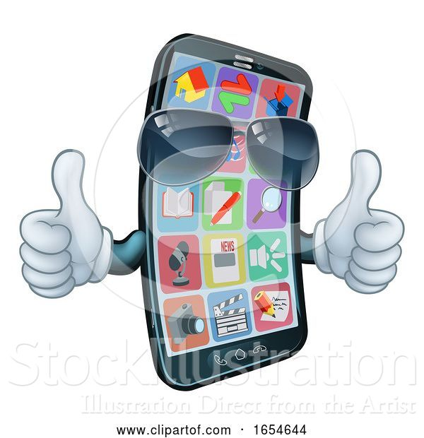 Vector Illustration of Mobile Phone Cool Shades Thumbs up Mascot
