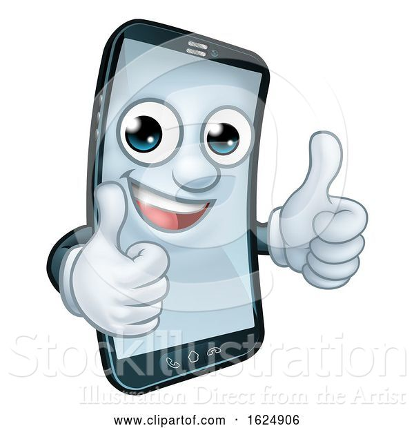 Vector Illustration of Mobile Phone Thumbs up Mascot