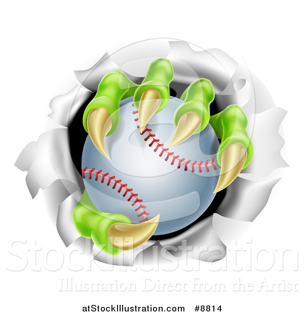 Vector Illustration of Monster Claws Holding a Baseball and Ripping Through a Wall