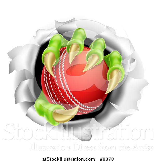 Vector Illustration of Monster Claws Holding a Cricket Ball and Ripping Through a Wall