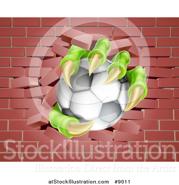 Vector Illustration of Monster Claws Holding a Soccer Ball and Breaking Through a Brick Wall