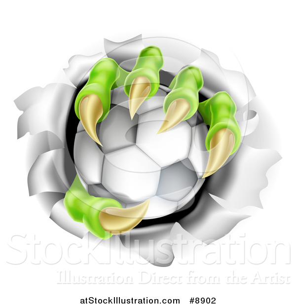 Vector Illustration of Monster Claws Holding a Soccer Ball and Ripping Through a Wall