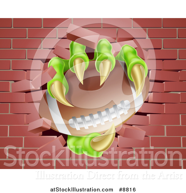 Vector Illustration of Monster Claws Holding an American Football and Breaking Through a Brick Wall