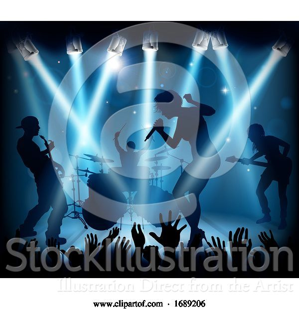 Vector Illustration of Music Concert Band Stage Silhouettes