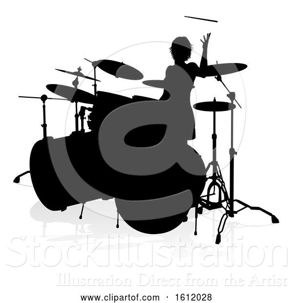 Vector Illustration of Musician Drummer Silhouette