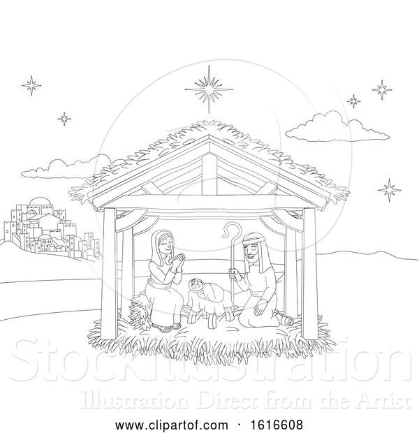 Vector Illustration of Nativity Christmas Scene Coloring