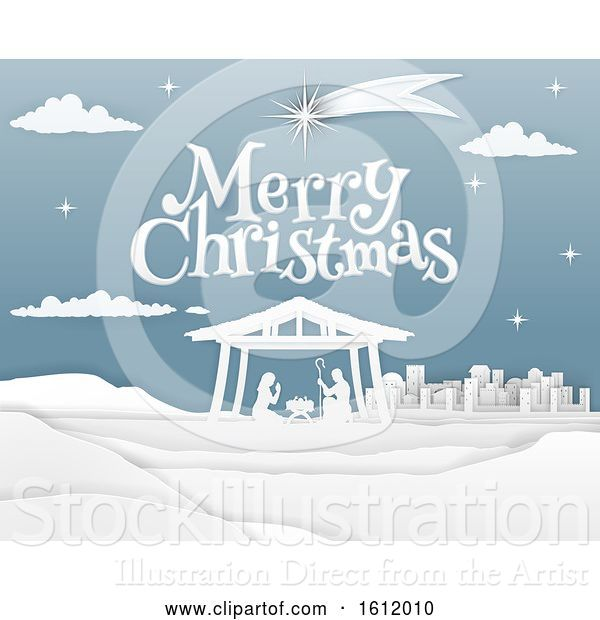 Vector Illustration of Nativity Merry Christmas Paper Scene