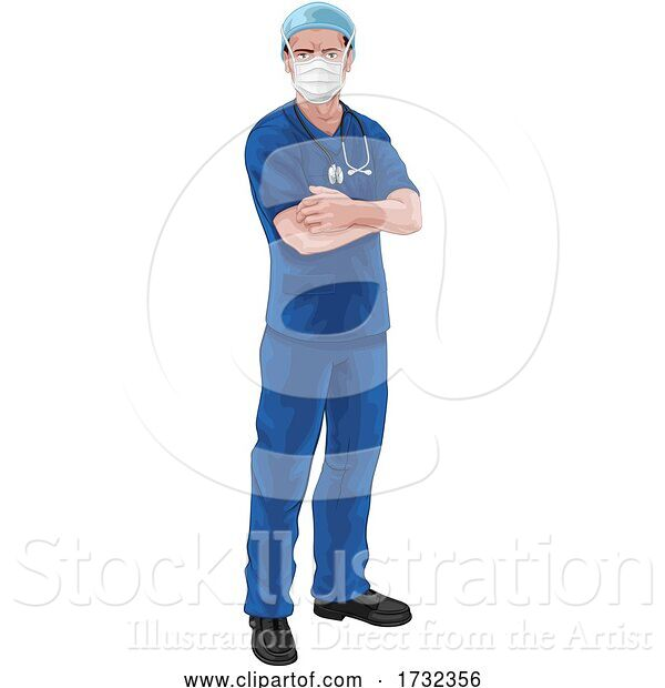 Vector Illustration of Nurse or Doctor in Scrubs and Surgical Mask PPE