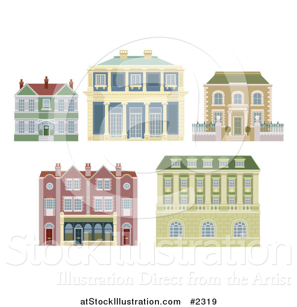Vector Illustration of Old Fashioned Homes and Buildings
