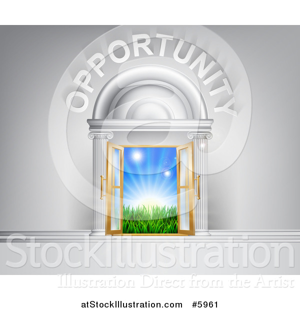Vector Illustration of Opportunity over Open Doors with Sunshine and Grass