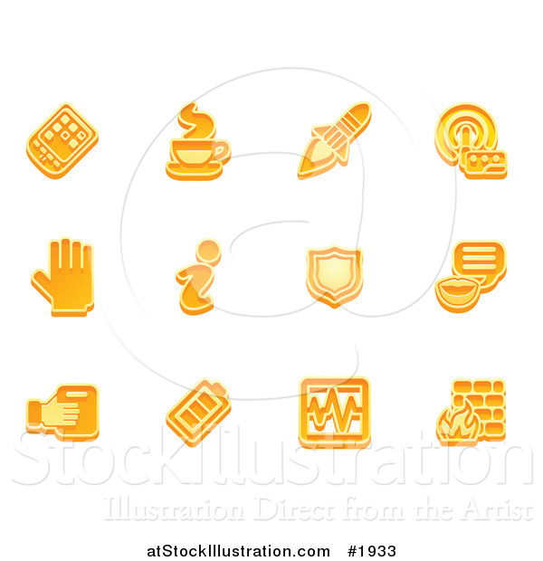 Vector Illustration of Orange Application Icons