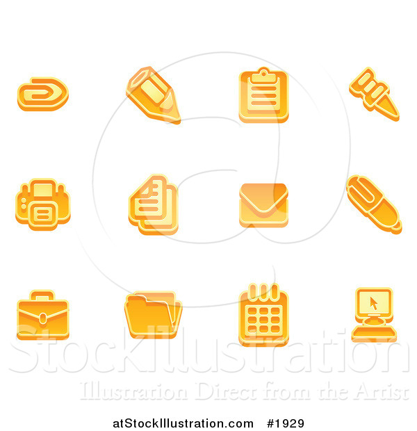 Vector Illustration of Orange Business Icons