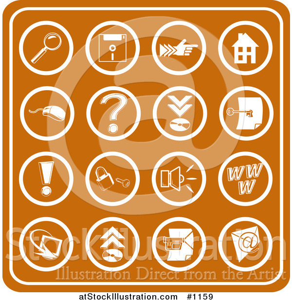 Vector Illustration of Orange Web Icons Including a Magnifying Glass, Disc, Pointer, Home, Computer Mouse, Question Mark, Key, Exclamation Point, Padlock, Speaker, Www, Screen, Camera and Email