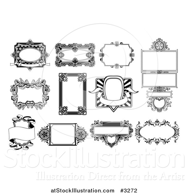 Vector Illustration of Ornate Black and White Frame Designs